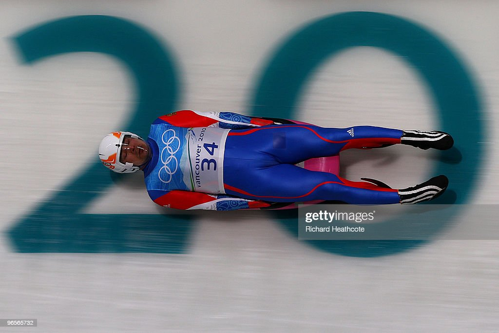 <a gi-track='captionPersonalityLinkClicked' href=/galleries/search?phrase=Albert+Demtschenko&family=editorial&specificpeople=791405 ng-click='$event.stopPropagation()'>Albert Demtschenko</a> of Russia during the second Men's Single Luge training run at the Whistler Sliding Centre ahead of the Vancouver 2010 Winter Olympics on February 10, 2010 in Whistler, Canada.