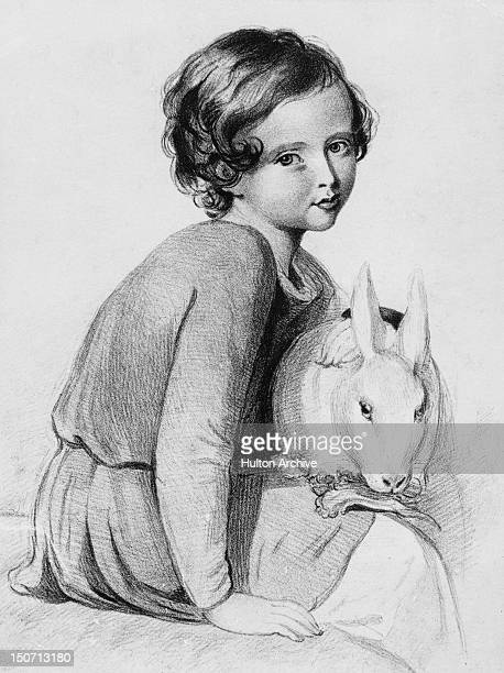Albert Edward Prince of Wales and the future King Edward VII with a pet rabbit 1846 A sketch after Sir William Charles Ross
