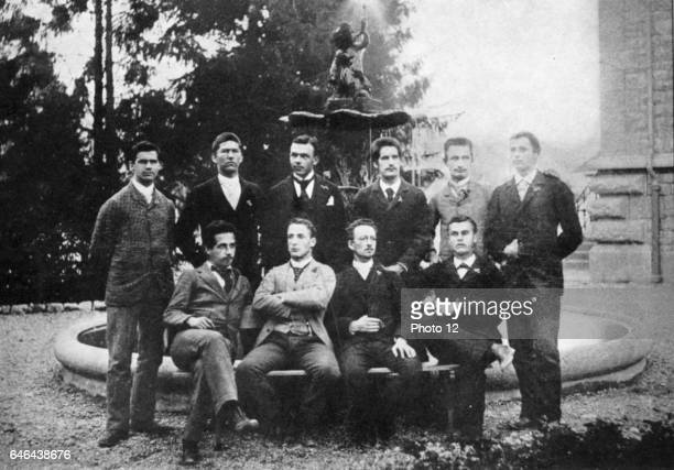 Albert Einstein GermanSwiss mathematician Relativity seated left with his graduation class at Cantonal School Aarau Switzerland