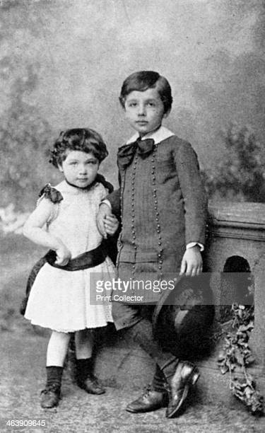 Albert Einstein theoretical physicist and his sister Maja as small children 1880s Einstein's main contribution to science was the theory of...