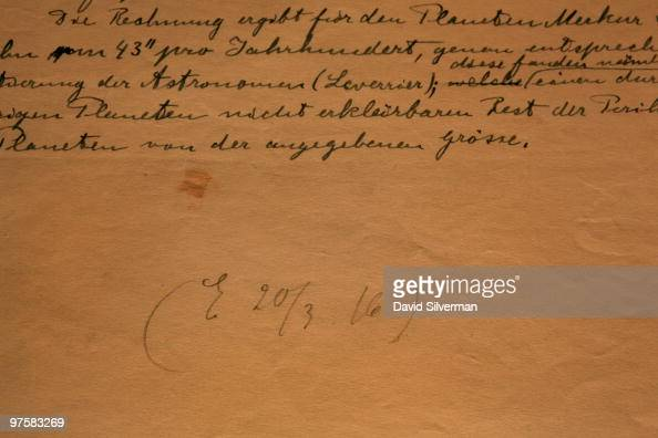 Albert Einstein's initial and the date March 20 1916 finish off his General Theory of Relativity which is on display in its entirety for the first...