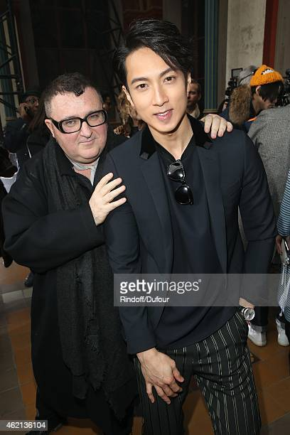 Albert Elbaz and Chun Wu attend the Lanvin Menswear Fall/Winter 20152016 Show as part of Paris Fashion Week on January 25 2015 in Paris France