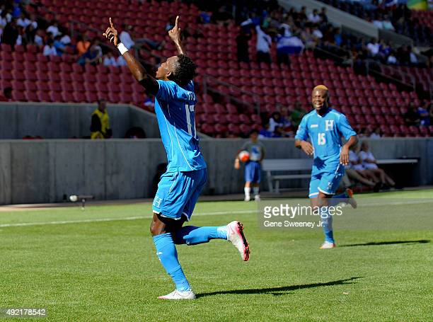 Albert Elis of Honduras celebrates his first half goal against the United States during the semifinal round of the 2015 CONCACAF Olympic Qualifying...