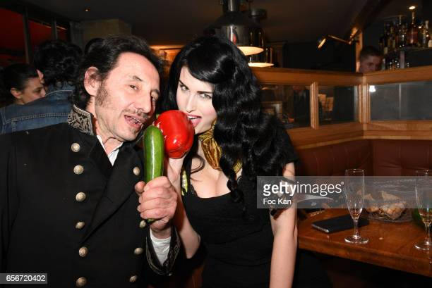 Albert Grintuch and Photo stylist Elsa Oesinger attend 'Apero Mecs A Legumes' Party Hosted by Grand Seigneur Magazine at the Bistrot Marguerite on...