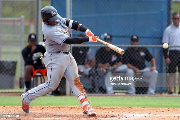 Albert Guaimaro of the Marlins at bat during the Gulf Coast League game between the Marlins and the Mets on July 21 at the New York Mets Minor League...