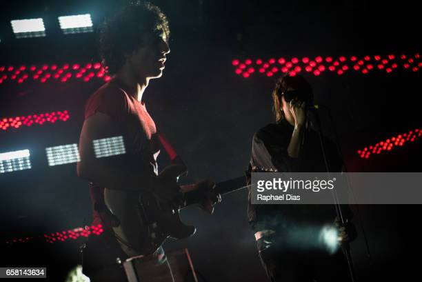 Albert Hammond Jr and Julian Casablancas from The Strokes perform at Lollapalooza Brazil day 2 at Autodromo de Interlagos on March 25 2017 in Sao...