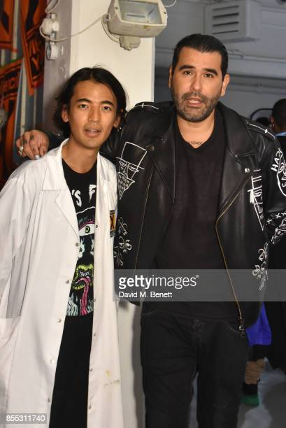 Albert Hauva and Harif Guzman attend a private view of artist Chemical X's new exhibition 'CX300' at The Vinyl Factory on September 28 2017 in London...
