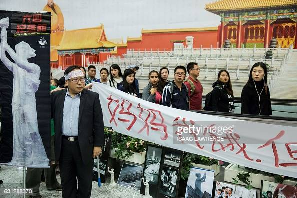 Albert Ho politician and chairman of the Hong Kong Alliance in Support of Patriotic Democratic Movements in China participates in a protest against...