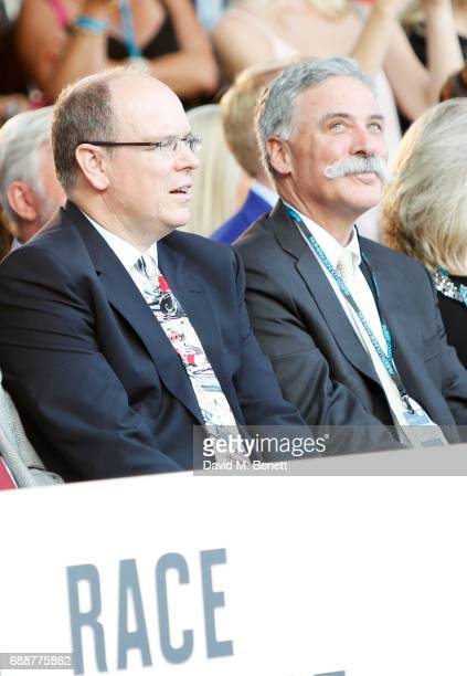 Albert II Prince of Monaco and Chase Carey attend the Amber Lounge Fashion Monaco 2017 at Le Meridien Beach Plaza Hotel on May 26 2017 in Monaco...
