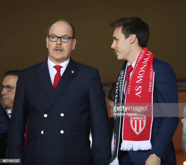 Albert II Prince of Monaco and his nephew Louis Ducruet attend the UEFA Champions League Group G match between AS Monaco and Besiktas at Stade Louis...