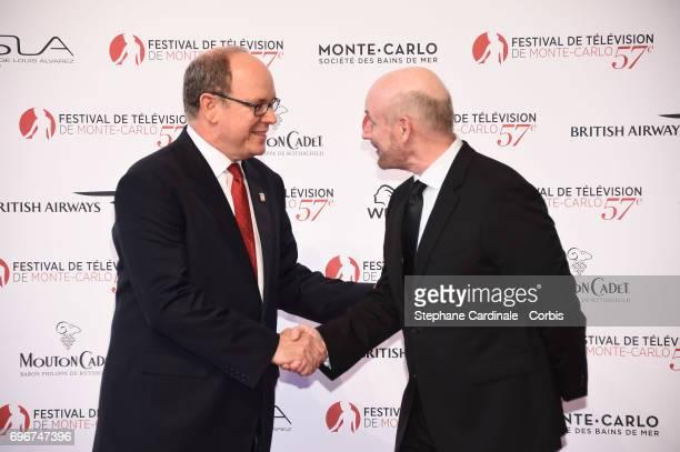 Albert II Prince of Monaco and Juan Jose Campanella attend the 57th Monte Carlo TV Festival Opening Ceremony on June 16 2017 in MonteCarlo Monaco