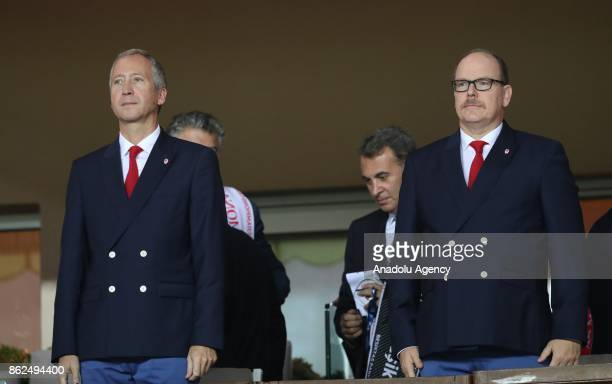 Albert II Prince of Monaco and Monaco's Russian Vice club President Vadim Vasilyev attend the UEFA Champions League Group G match between AS Monaco...