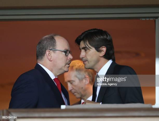 Albert II Prince of Monaco attends the UEFA Champions League Group G match between AS Monaco and Besiktas at Stade Louis II in Fontvieille Monaco on...