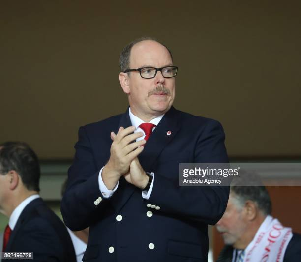 Albert II Prince of Monaco looks on during the UEFA Champions League Group G match between AS Monaco and Besiktas at Stade Louis II in Fontvieille...