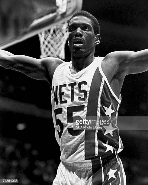 Albert King of the New Jersey Nets hypes up the crowd during a 1981 NBA game at Brendan Byrne Arena in East Rutherford New Jersey NOTE TO USER User...