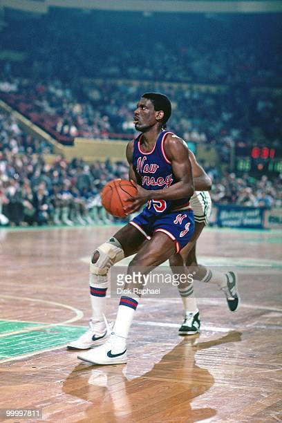 Albert King of the New Jersey Nets looks to make a play against the Boston Celtics during a game played in 1983 at the Boston Garden in Boston...