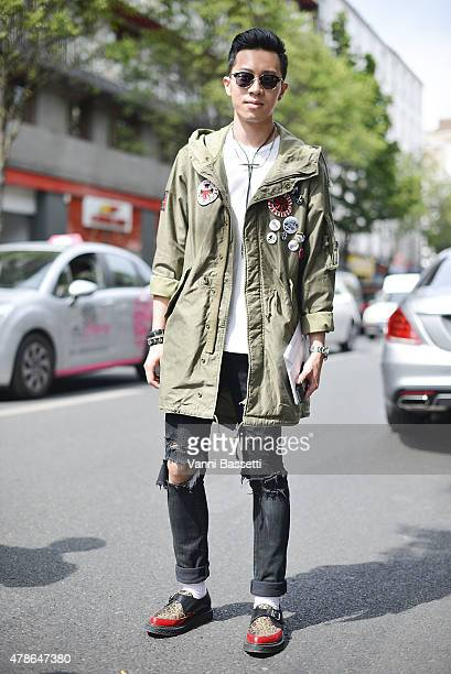 Albert Lee poses wearing a Wacko Maria parka on June 26 2015 in Paris France