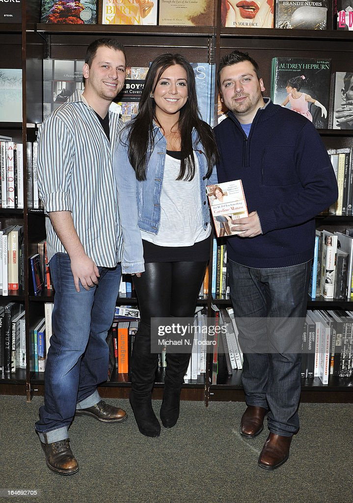 Albert Manzo, Lauren Manzo and Christopher Manzo promote the new book 'Let Me Tell You Something: Real Housewife, Tough-Love Mother And Smart Businesswoman' at Barnes & Noble Tribeca on March 26, 2013 in New York City.