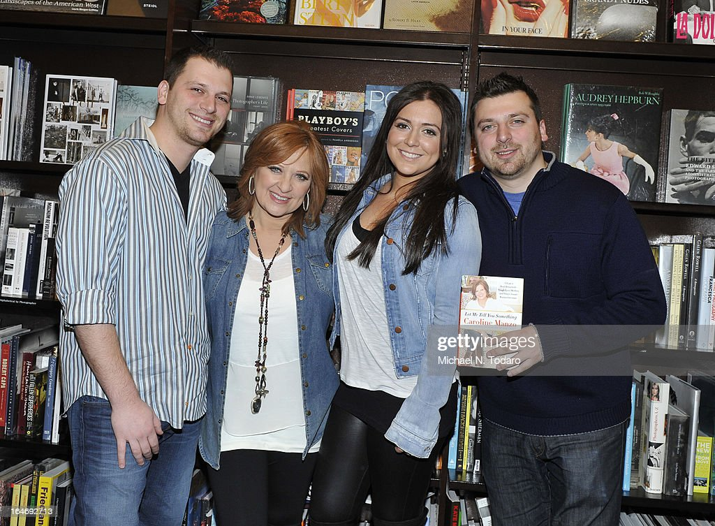 Albert Manzo, Lauren Manzo, <a gi-track='captionPersonalityLinkClicked' href=/galleries/search?phrase=Caroline+Manzo&family=editorial&specificpeople=5841102 ng-click='$event.stopPropagation()'>Caroline Manzo</a> and Christopher Manzo promote the new book 'Let Me Tell You Something: Real Housewife, Tough-Love Mother And Smart Businesswoman' at Barnes & Noble Tribeca on March 26, 2013 in New York City.