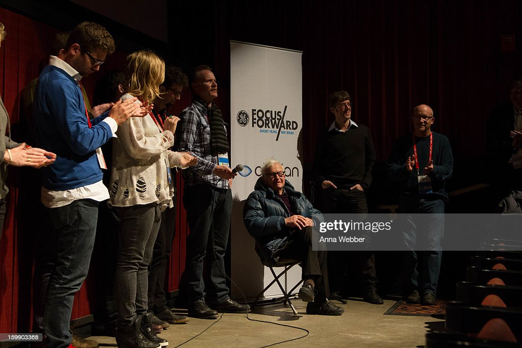 <a gi-track='captionPersonalityLinkClicked' href=/galleries/search?phrase=Albert+Maysles&family=editorial&specificpeople=683587 ng-click='$event.stopPropagation()'>Albert Maysles</a> (C) speaks during GE/Focus Forward Special Screening - 2013 Park City on January 22, 2013 in Park City, Utah.