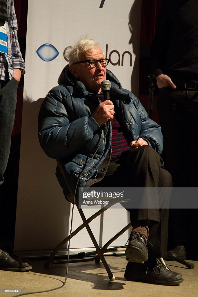 <a gi-track='captionPersonalityLinkClicked' href=/galleries/search?phrase=Albert+Maysles&family=editorial&specificpeople=683587 ng-click='$event.stopPropagation()'>Albert Maysles</a> speaks during GE/Focus Forward Special Screening - 2013 Park City on January 22, 2013 in Park City, Utah.
