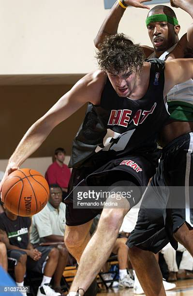 Albert Miralles of the Miami Heat drives against the Boston Celtics during a NBA Pepsi Pro Summer League game July 8 2004 at the RDV Sportsplex in...