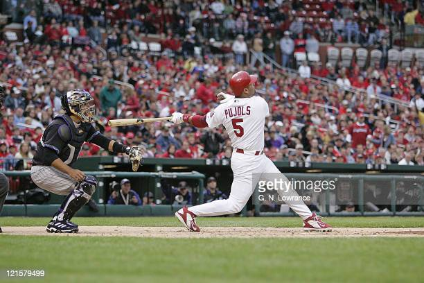 Albert Pujols hits his leagueleading 19th home run during action between the Arizona Diamondbacks and St Louis Cardinals at Busch Stadium in St Louis...