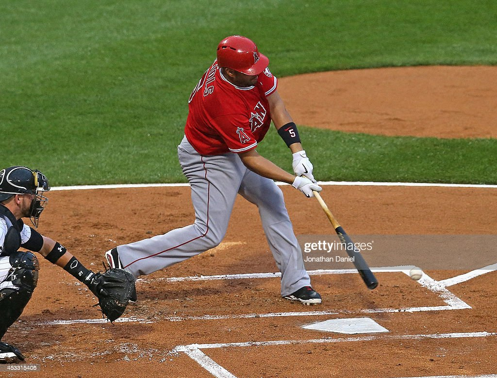 Albert Pujols #5 of the Chicago White Sox bats against the Los Angeles Angels of Anaheim at U.S. Cellular Field on July 2, 2014 in Chicago, Illinois. The White Sox defeated the Angels 3-2.