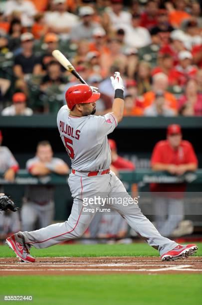 Albert Pujols of the Los Angeles Angels hits a tworun home run in the first inning against the Baltimore Orioles at Oriole Park at Camden Yards on...