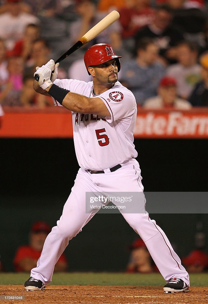 <a gi-track='captionPersonalityLinkClicked' href=/galleries/search?phrase=Albert+Pujols&family=editorial&specificpeople=171151 ng-click='$event.stopPropagation()'>Albert Pujols</a> #5 of the Los Angeles Angels of Anaheim bats in the ninth inning during the MLB game against the Pittsburgh Pirates at Angel Stadium of Anaheim on June 21, 2013 in Anaheim, California. The Pirates defeated the Angels 5-2.