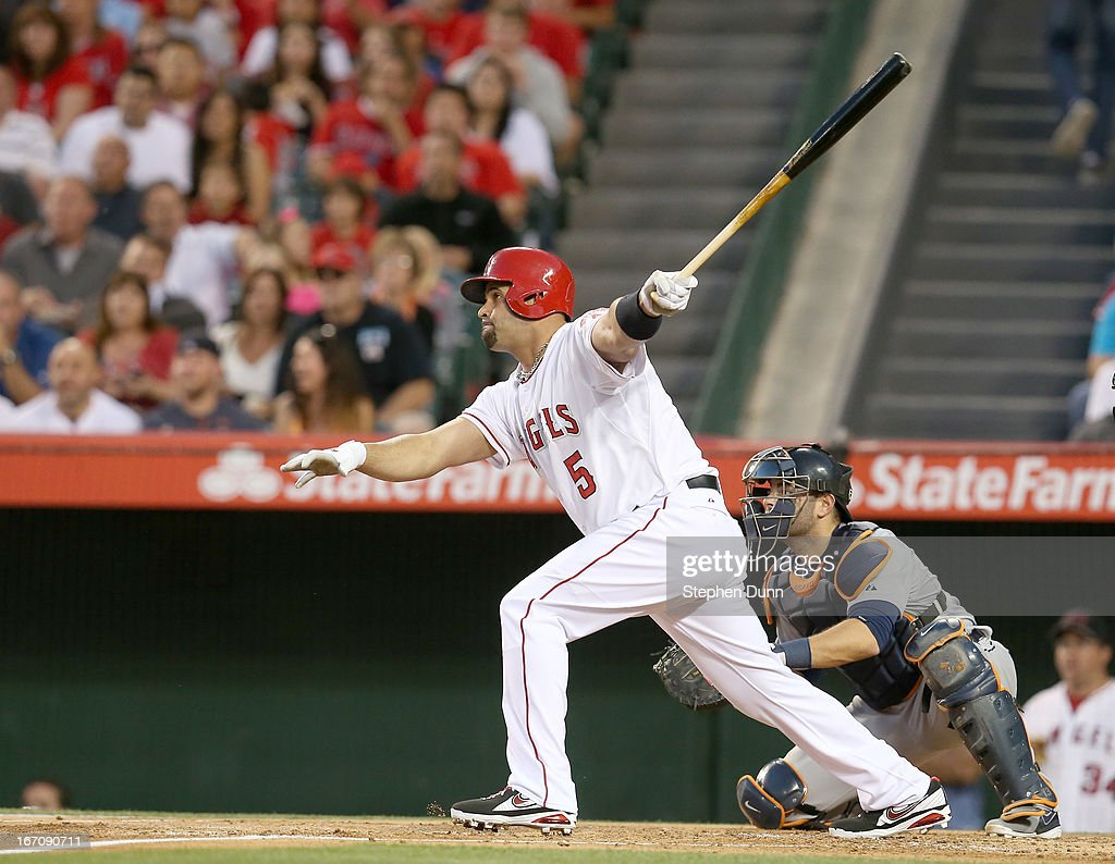 <a gi-track='captionPersonalityLinkClicked' href=/galleries/search?phrase=Albert+Pujols&family=editorial&specificpeople=171151 ng-click='$event.stopPropagation()'>Albert Pujols</a> #5 of the Los Angeles Angels of Anaheim hits a single in the first inning against the Detroit Tigers at Angel Stadium of Anaheim on April 19, 2013 in Anaheim, California.