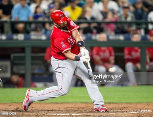 Albert Pujols of the Los Angeles Angels of Anaheim hits a tworun double off of relief pitcher Tony Zych of the Seattle Mariners that scored Ben...