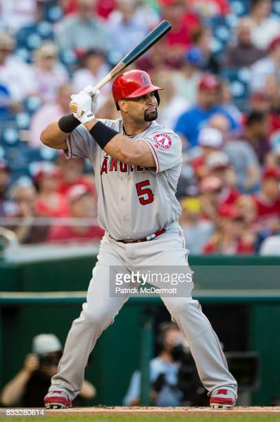 Albert Pujols of the Los Angeles Angels of Anaheim hits against the Washington Nationals in the first inning during a game at Nationals Park on...