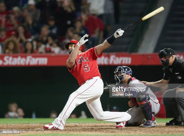 Albert Pujols of the Los Angeles Angels of Anaheim hits career home run number 600 a grand slam in the fourth inning against the Minnesota Twins at...