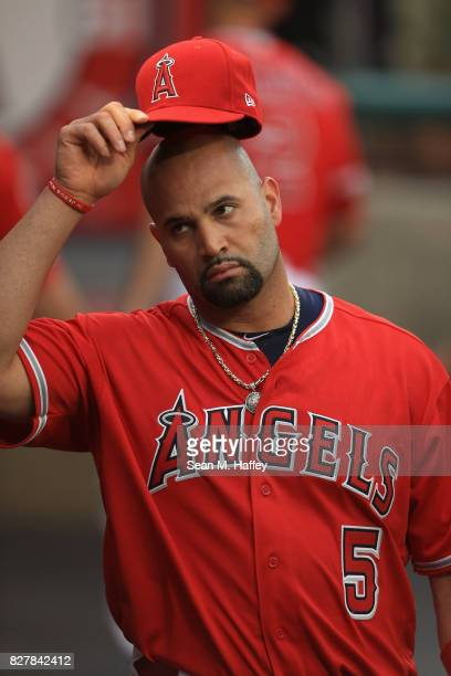 Albert Pujols of the Los Angeles Angels of Anaheim looks on during a game against the Philadelphia Phillies at Angel Stadium of Anaheim on August 2...