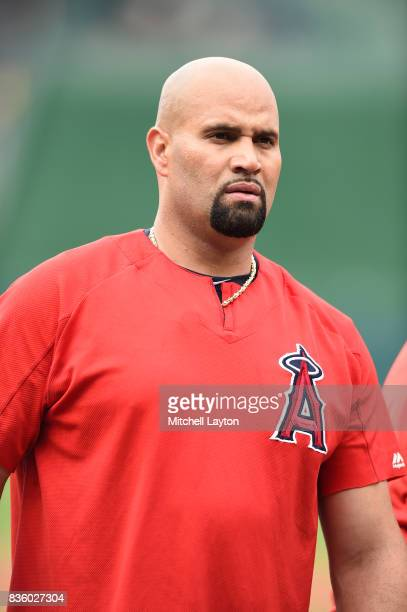 Albert Pujols of the Los Angeles Angels of Anaheim looks on during batting practice of a baseball game against the Washington Nationals at Nationals...