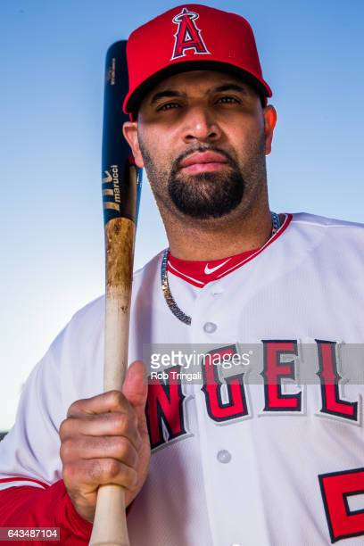 Albert Pujols of the Los Angeles Angels of Anaheim poses for a portrait during Angels Photo Day at Tempe Diablo Stadium on February 21 2017 in Tempe...