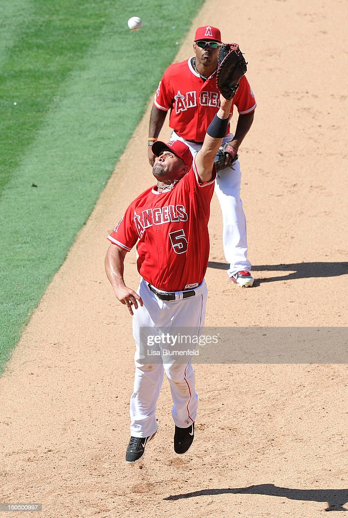 <a gi-track='captionPersonalityLinkClicked' href=/galleries/search?phrase=Albert+Pujols&family=editorial&specificpeople=171151 ng-click='$event.stopPropagation()'>Albert Pujols</a> #5 of the Los Angeles Angels of Anaheim reaches for the ball during the game against the Tampa Bay Rays at Angel Stadium of Anaheim on August 19, 2012 in Anaheim, California.