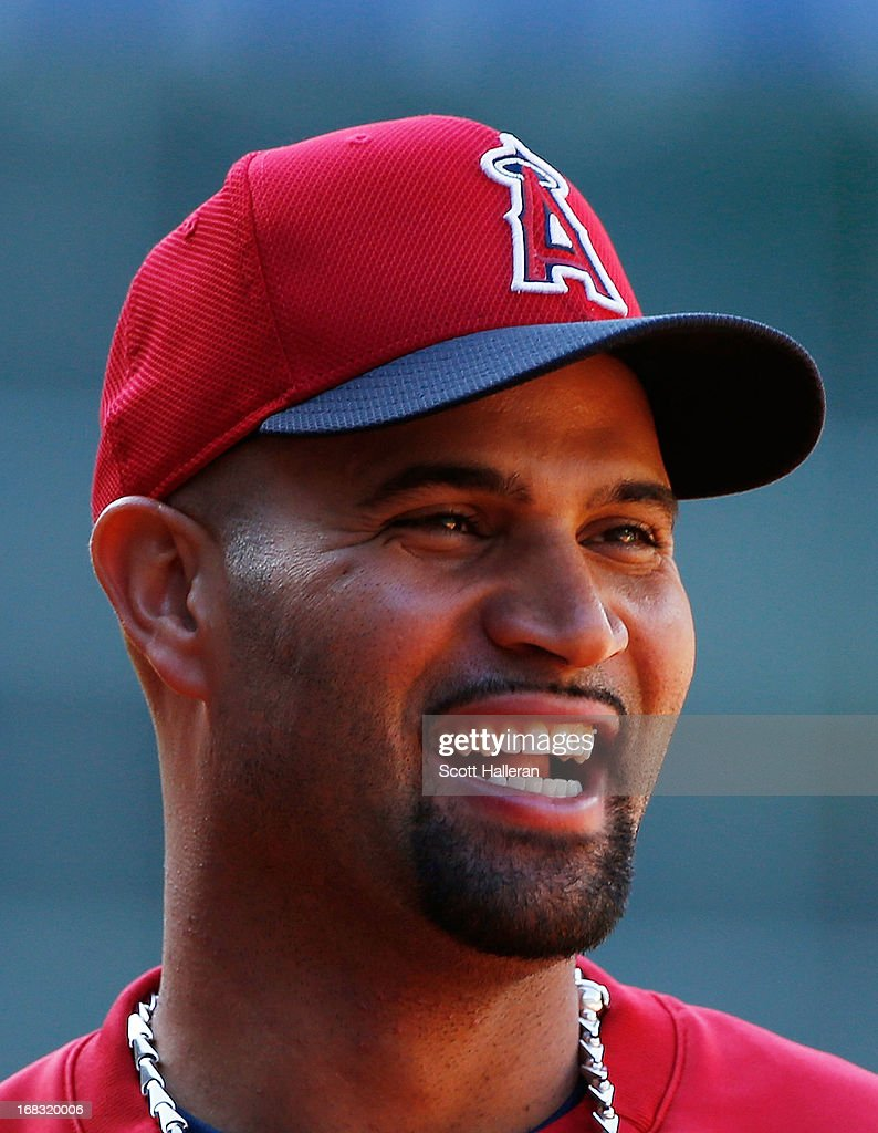 <a gi-track='captionPersonalityLinkClicked' href=/galleries/search?phrase=Albert+Pujols&family=editorial&specificpeople=171151 ng-click='$event.stopPropagation()'>Albert Pujols</a> #5 of the Los Angeles Angels of Anaheim waits near the batting cage before the start of the game against the Houston Astros at Minute Maid Park on May 8, 2013 in Houston, Texas.