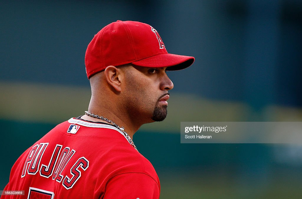 <a gi-track='captionPersonalityLinkClicked' href=/galleries/search?phrase=Albert+Pujols&family=editorial&specificpeople=171151 ng-click='$event.stopPropagation()'>Albert Pujols</a> #5 of the Los Angeles Angels of Anaheim waits on the field before the game against the Houston Astros in the first inning at Minute Maid Park on May 7, 2013 in Houston, Texas.