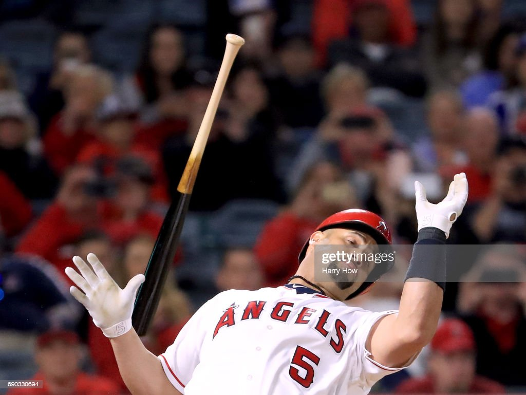 Albert Pujols #5 of the Los Angeles Angels reacts to a pitch inside during the eighth inning against the Atlanta Braves at Angel Stadium of Anaheim on May 30, 2017 in Anaheim, California.