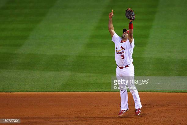 Albert Pujols of the St Louis Cardinals celebrates after defeating the Texas Rangers 62 to win the World Series in Game Seven of the MLB World Series...