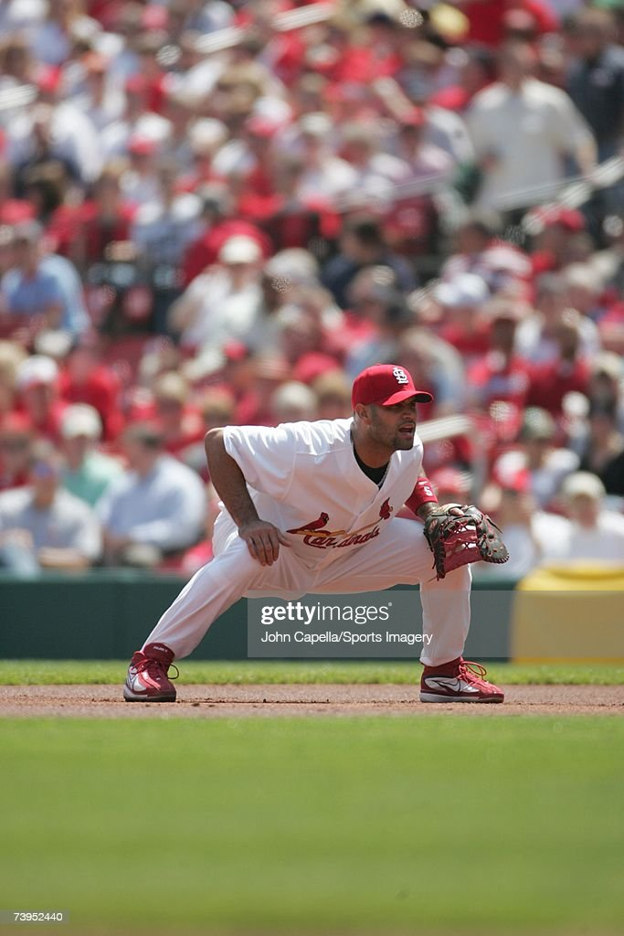 Albert Pujols of the St Louis Cardinals fielding against the Pittsburgh Pirates in a game on April 17 2007 in St Louis Missouri