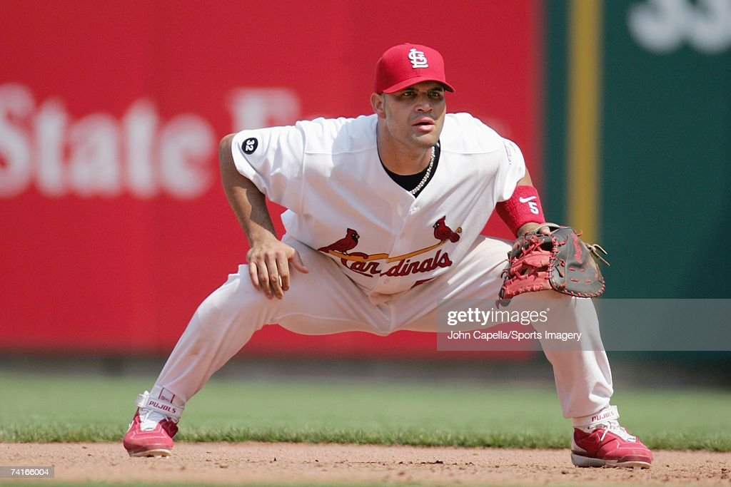 Albert Pujols of the St Louis Cardinals fielding in a game against the Colorado Rockies on May 9 2007 in St Louis Missouri