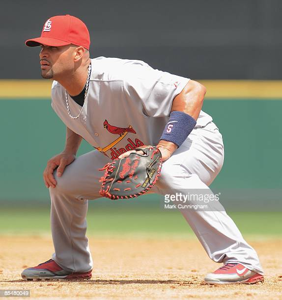 Albert Pujols of the St Louis Cardinals fields against the Detroit Tigers during the spring training game at Joker Marchant Stadium on March 16 2009...
