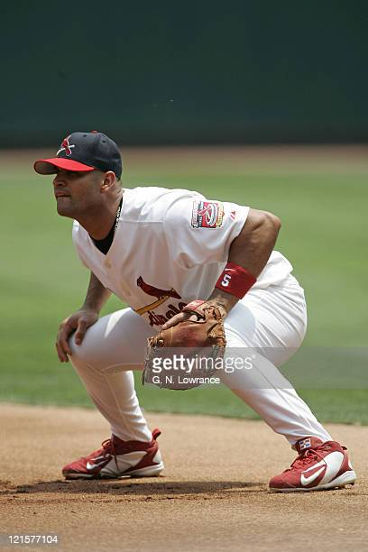 Albert Pujols of the St Louis Cardinals in action during a game against the Pittsburgh Pirates at Busch Stadium in St Louis Mo on June 26 2005...