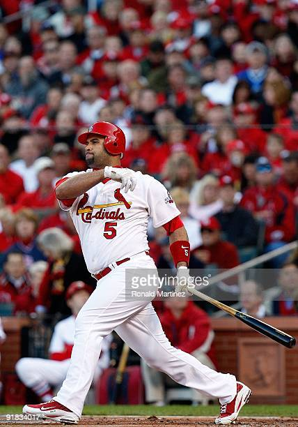 Albert Pujols of the St Louis Cardinals in Game Three of the NLDS during the 2009 MLB Playoffs at Busch Stadium on October 10 2009 in St Louis...