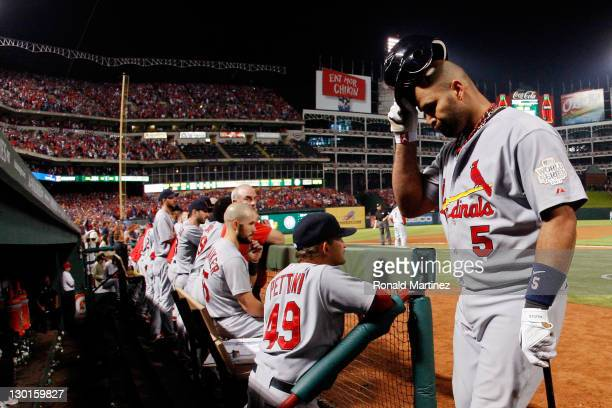 Albert Pujols of the St Louis Cardinals reacts after flying out to center in the ninth inning during Game Four of the MLB World Series against the...