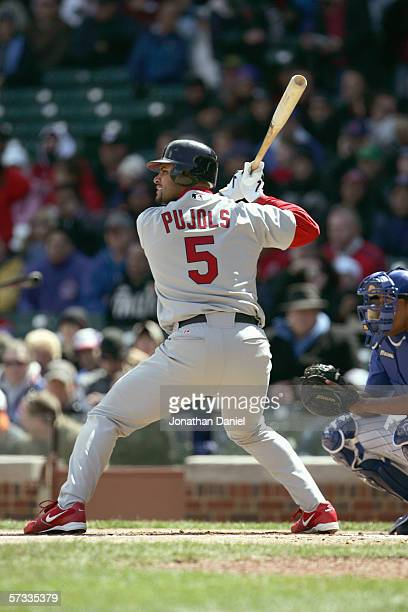 Albert Pujols of the St Louis Cardinals stands ready at bat during the game against the Chicago Cubs on April 8 2006 at Wrigley Field in Chicago...