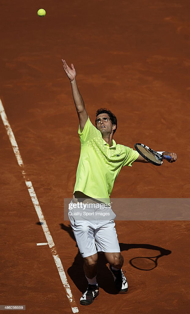 Albert Ramos of Spain in action against Rafael Nadal of Spain during day three of the ATP Barcelona Open Banc Sabadell at the Real Club de Tenis Barcelona on April 23, 2014 in Barcelona, Spain.